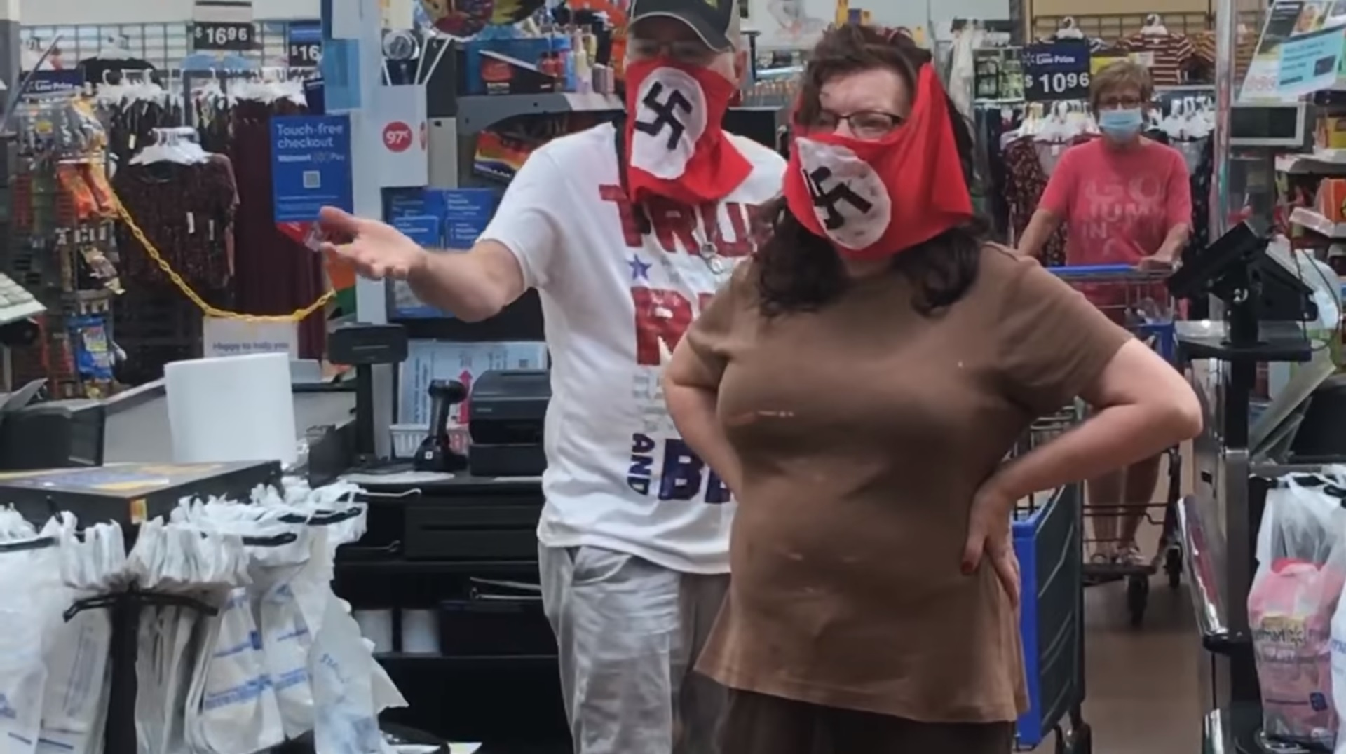 Couple banned by Walmart after wearing Nazi flag face masks at ...